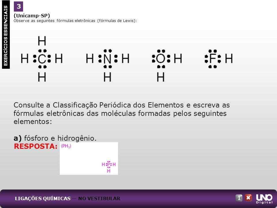 (Unicamp-SP) Observe as seguintes fórmulas eletrônicas (fórmulas de Lewis): Consulte a Classificação Periódica dos Elementos e escreva as fórmulas ele