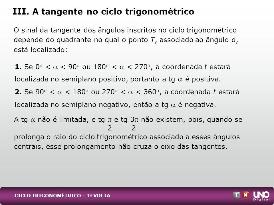 A tg não é limitada, e tg e tg 3 não existem, pois, quando se 2 2 prolonga o raio do ciclo trigonométrico associado a esses ângulos centrais, esse pro