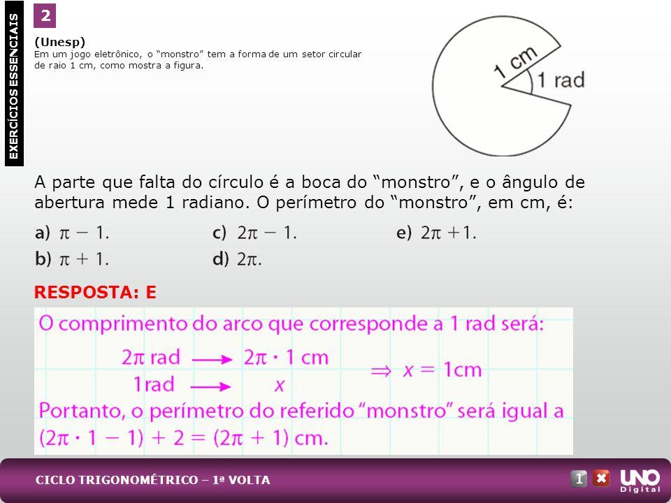 (Unesp) Em um jogo eletrônico, o monstro tem a forma de um setor circular de raio 1 cm, como mostra a figura. A parte que falta do círculo é a boca do