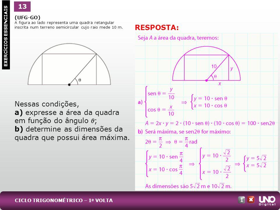 (UFG-GO) A figura ao lado representa uma quadra retangular inscrita num terreno semicircular cujo raio mede 10 m. Nessas condições, a) expresse a área