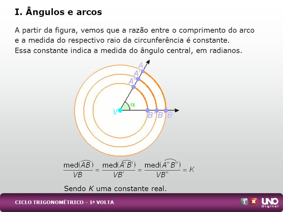 A partir da figura, vemos que a razão entre o comprimento do arco e a medida do respectivo raio da circunferência é constante. Essa constante indica a
