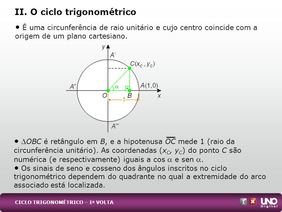 II. O ciclo trigonométrico É uma circunferência de raio unitário e cujo centro coincide com a origem de um plano cartesiano. OBC é retângulo em B, e a