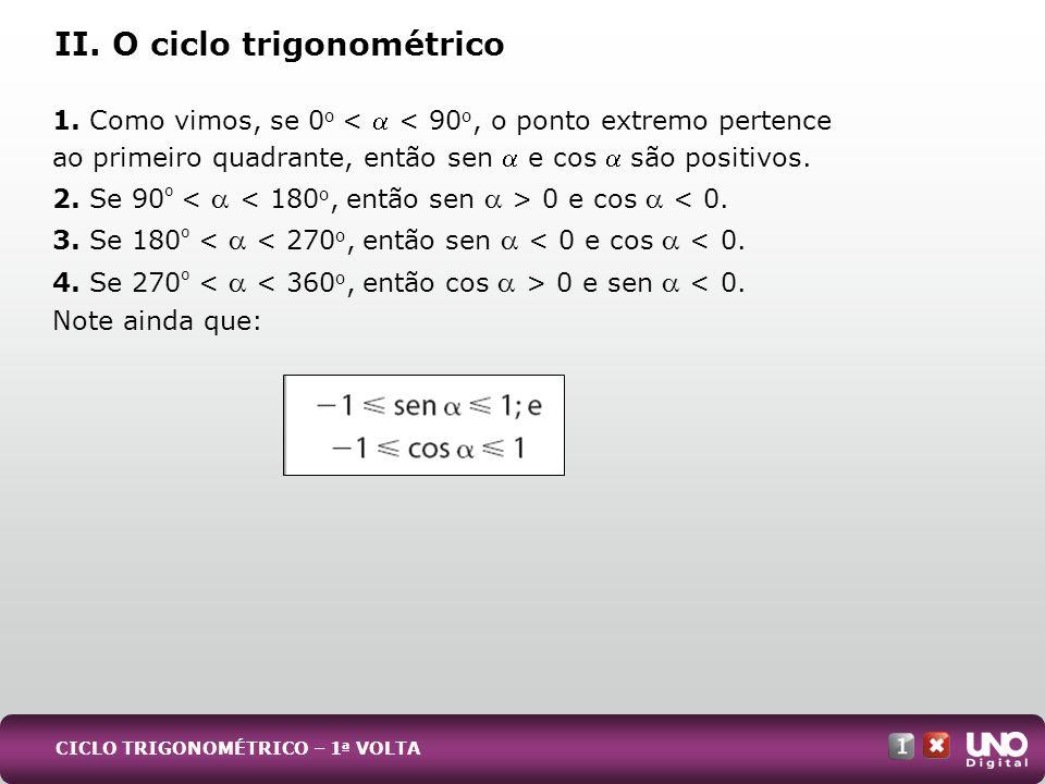 II. O ciclo trigonométrico 1. Como vimos, se 0 o < < 90 o, o ponto extremo pertence ao primeiro quadrante, então sen e cos são positivos. 2. Se 90 º 0