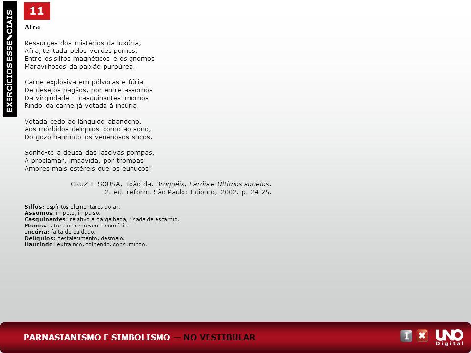 11 EXERC Í CIOS ESSENCIAIS Afra Ressurges dos mistérios da luxúria, Afra, tentada pelos verdes pomos, Entre os silfos magnéticos e os gnomos Maravilho