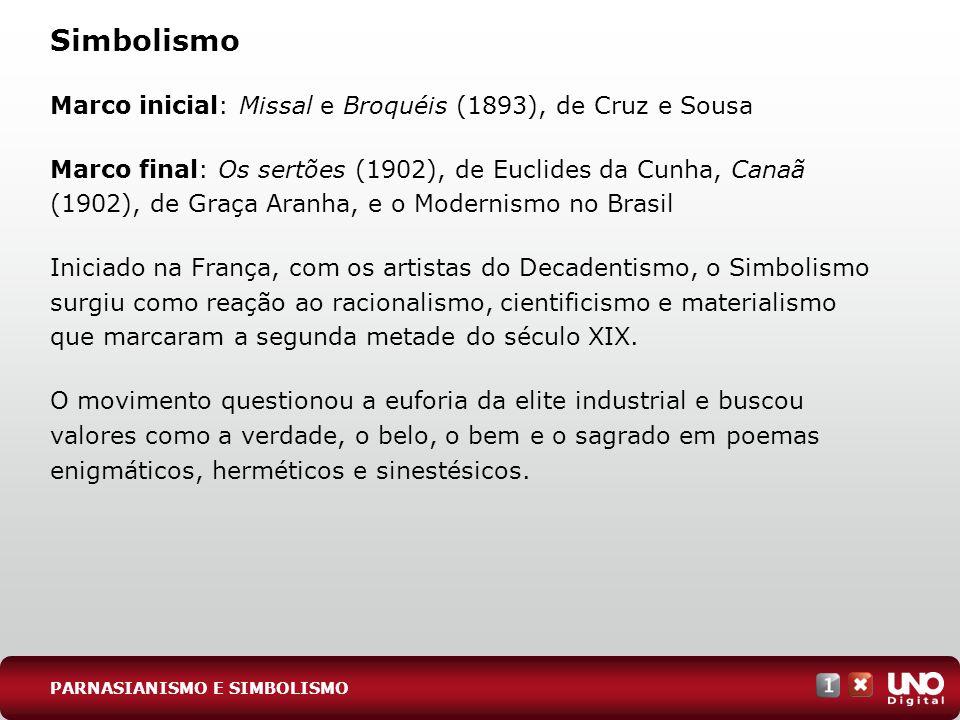 Simbolismo Marco inicial: Missal e Broquéis (1893), de Cruz e Sousa Marco final: Os sertões (1902), de Euclides da Cunha, Canaã (1902), de Graça Aranh