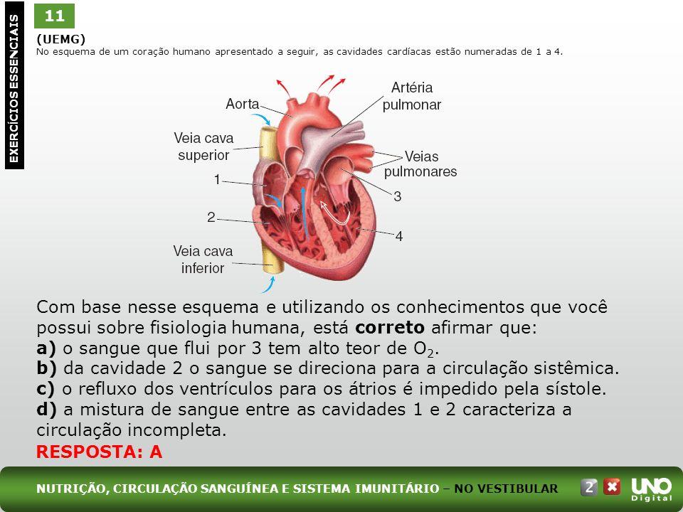 (UEMG) No esquema de um coração humano apresentado a seguir, as cavidades cardíacas estão numeradas de 1 a 4. Com base nesse esquema e utilizando os c