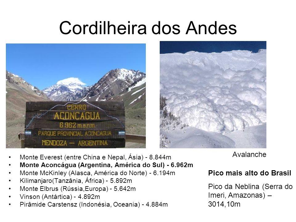 Cordilheira dos Andes Monte Everest (entre China e Nepal, Ásia) - 8.844m Monte Aconcágua (Argentina, América do Sul) - 6.962m Monte McKinley (Alasca,