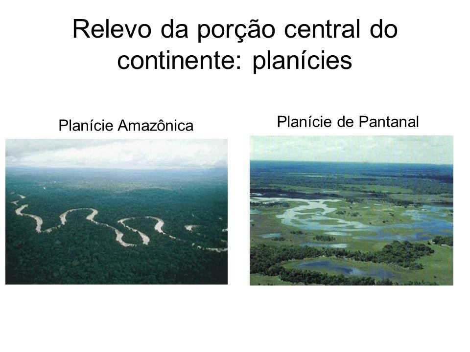 Relevo da porção central do continente: planícies Planície Amazônica Planície de Pantanal