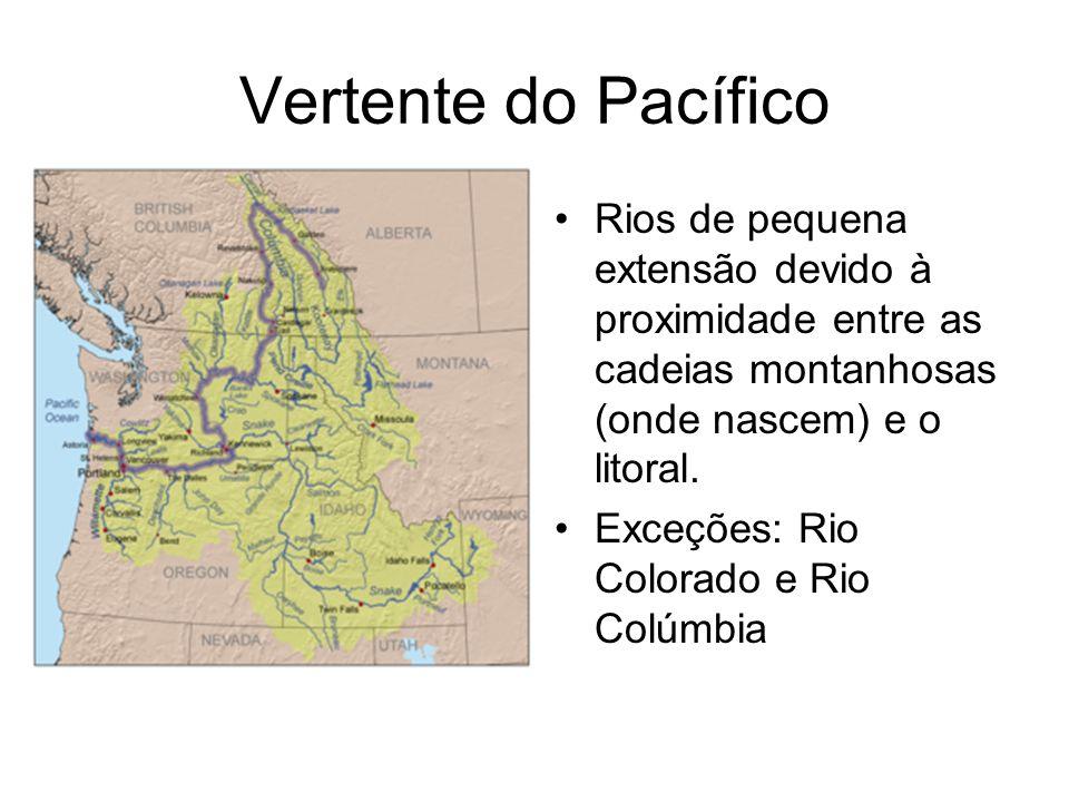 Vertente do Pacífico Rios de pequena extensão devido à proximidade entre as cadeias montanhosas (onde nascem) e o litoral. Exceções: Rio Colorado e Ri