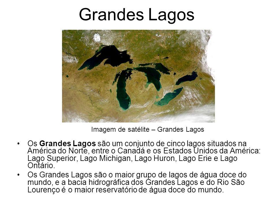 Grandes Lagos Os Grandes Lagos são um conjunto de cinco lagos situados na América do Norte, entre o Canadá e os Estados Unidos da América: Lago Superi