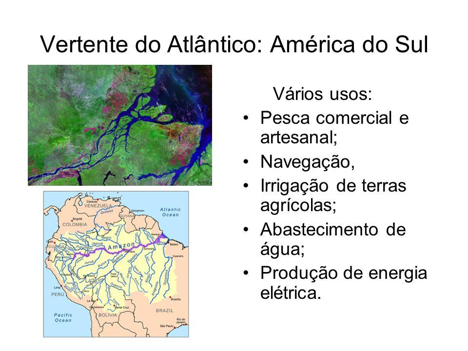 Vertente do Atlântico: América do Sul Vários usos: Pesca comercial e artesanal; Navegação, Irrigação de terras agrícolas; Abastecimento de água; Produ