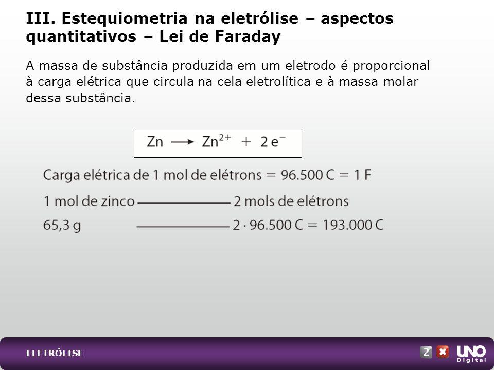 III. Estequiometria na eletrólise – aspectos quantitativos – Lei de Faraday A massa de substância produzida em um eletrodo é proporcional à carga elét