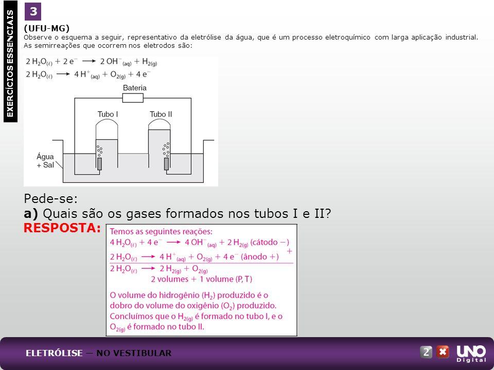 (UFU-MG) Observe o esquema a seguir, representativo da eletrólise da água, que é um processo eletroquímico com larga aplicação industrial. As semirrea