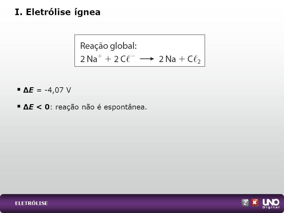 E = -4,07 V E < 0: reação não é espontânea. I. Eletrólise ígnea ELETRÓLISE
