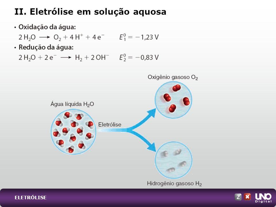 II. Eletrólise em solução aquosa ELETRÓLISE