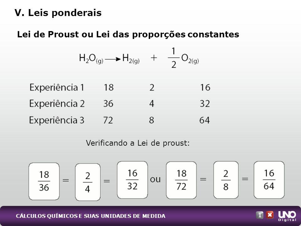 Lei de Proust ou Lei das proporções constantes V. Leis ponderais CÁLCULOS QUÍMICOS E SUAS UNIDADES DE MEDIDA Verificando a Lei de proust: