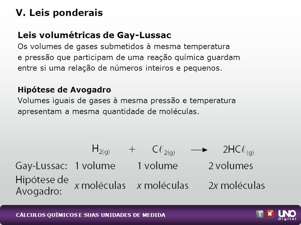 Leis volumétricas de Gay-Lussac Os volumes de gases submetidos à mesma temperatura e pressão que participam de uma reação química guardam entre si uma