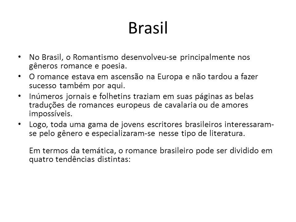 Brasil No Brasil, o Romantismo desenvolveu-se principalmente nos gêneros romance e poesia. O romance estava em ascensão na Europa e não tardou a fazer