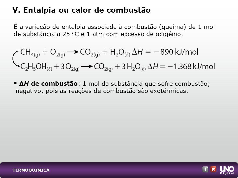 É a variação de entalpia associada à combustão (queima) de 1 mol de substância a 25 o C e 1 atm com excesso de oxigênio. H de combustão: 1 mol da subs