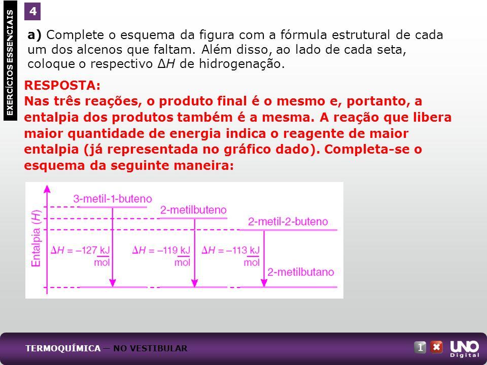 a) Complete o esquema da figura com a fórmula estrutural de cada um dos alcenos que faltam. Além disso, ao lado de cada seta, coloque o respectivo H d