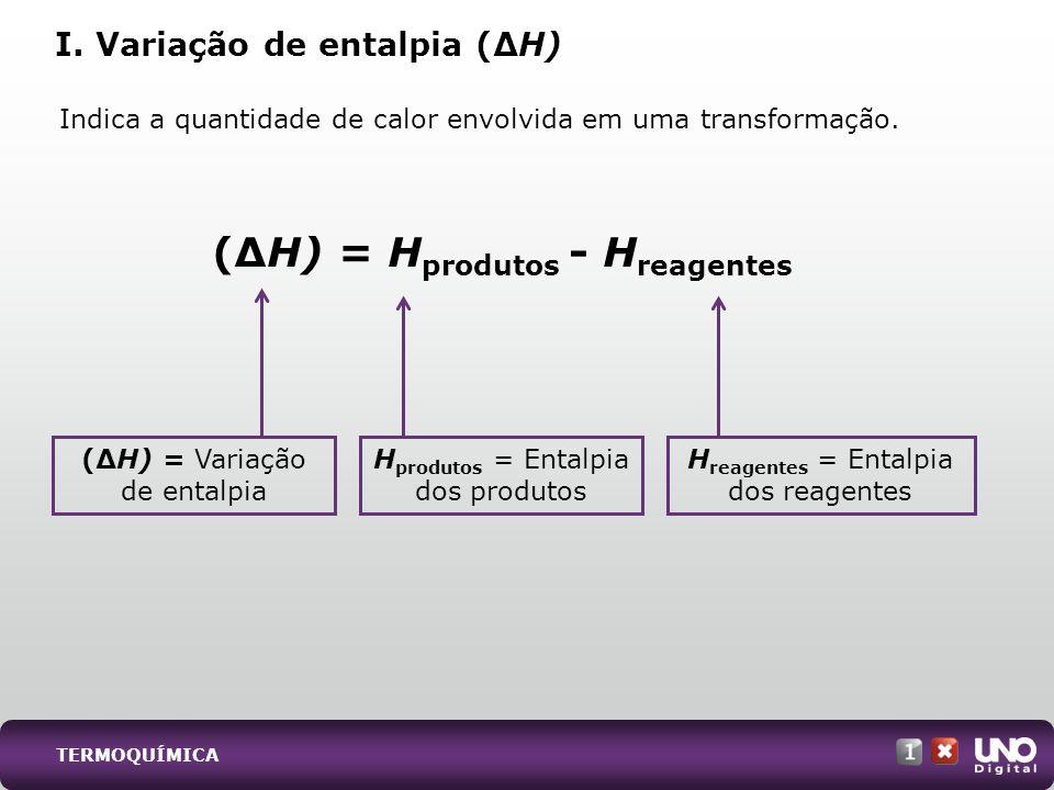 TERMOQUÍMICA Indica a quantidade de calor envolvida em uma transformação. I. Variação de entalpia (H) (H) = Variação de entalpia H reagentes = Entalpi