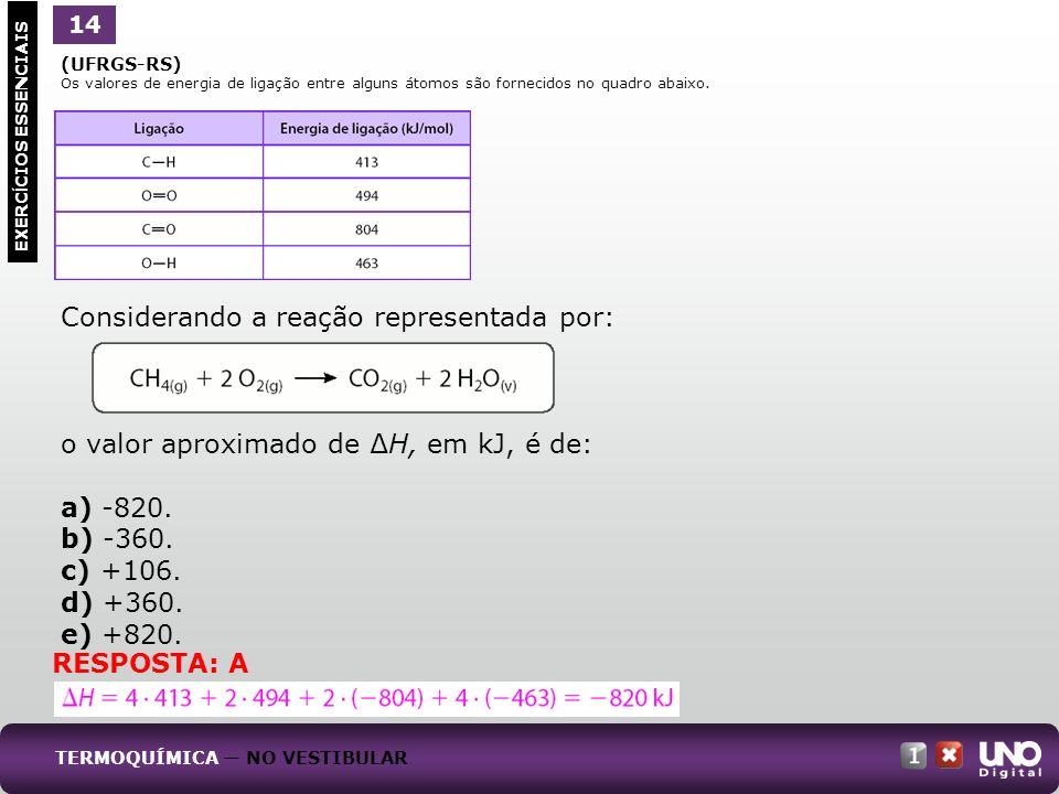 (UFRGS-RS) Os valores de energia de ligação entre alguns átomos são fornecidos no quadro abaixo. Considerando a reação representada por: o valor aprox