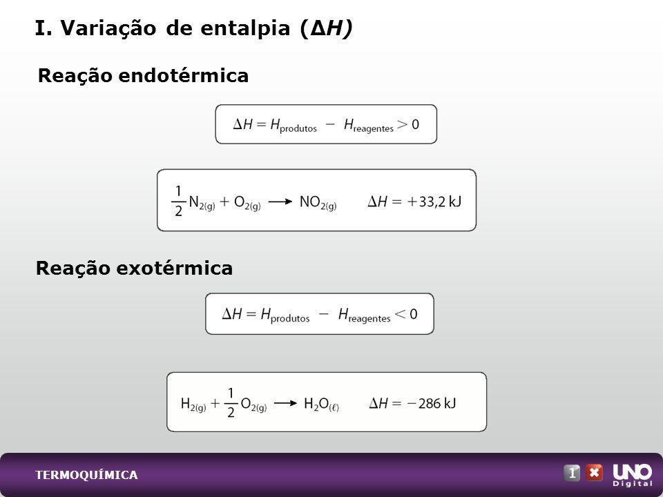 Reação endotérmica I. Variação de entalpia (H) Reação exotérmica TERMOQUÍMICA
