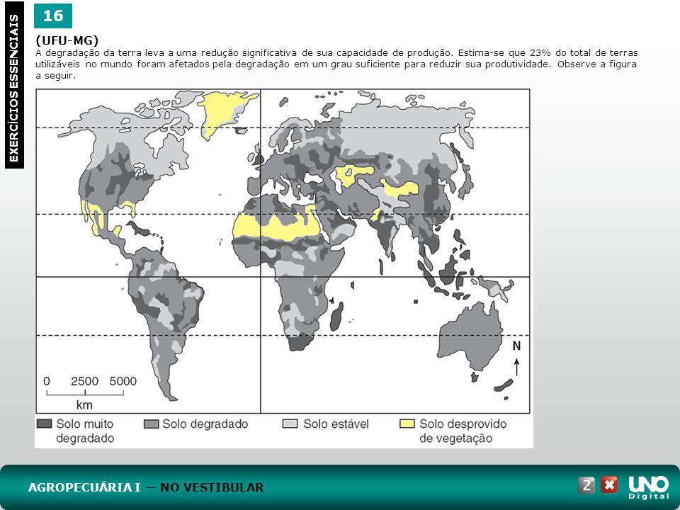 16 EXERC Í CIOS ESSENCIAIS (UFU-MG) A degradação da terra leva a uma redução significativa de sua capacidade de produção. Estima-se que 23% do total d