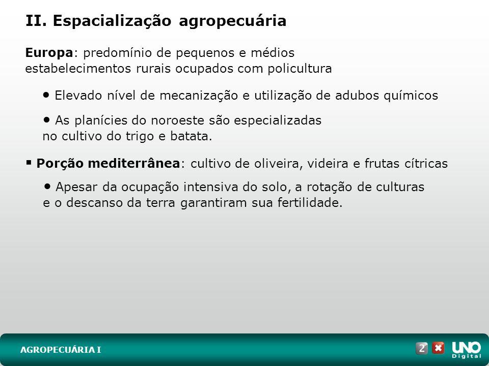 II. Espacialização agropecuária AGROPECUÁRIA I Europa: predomínio de pequenos e médios estabelecimentos rurais ocupados com policultura Elevado nível