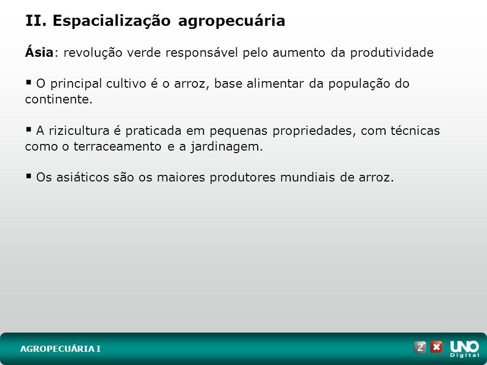 II. Espacialização agropecuária AGROPECUÁRIA I Ásia: revolução verde responsável pelo aumento da produtividade O principal cultivo é o arroz, base ali