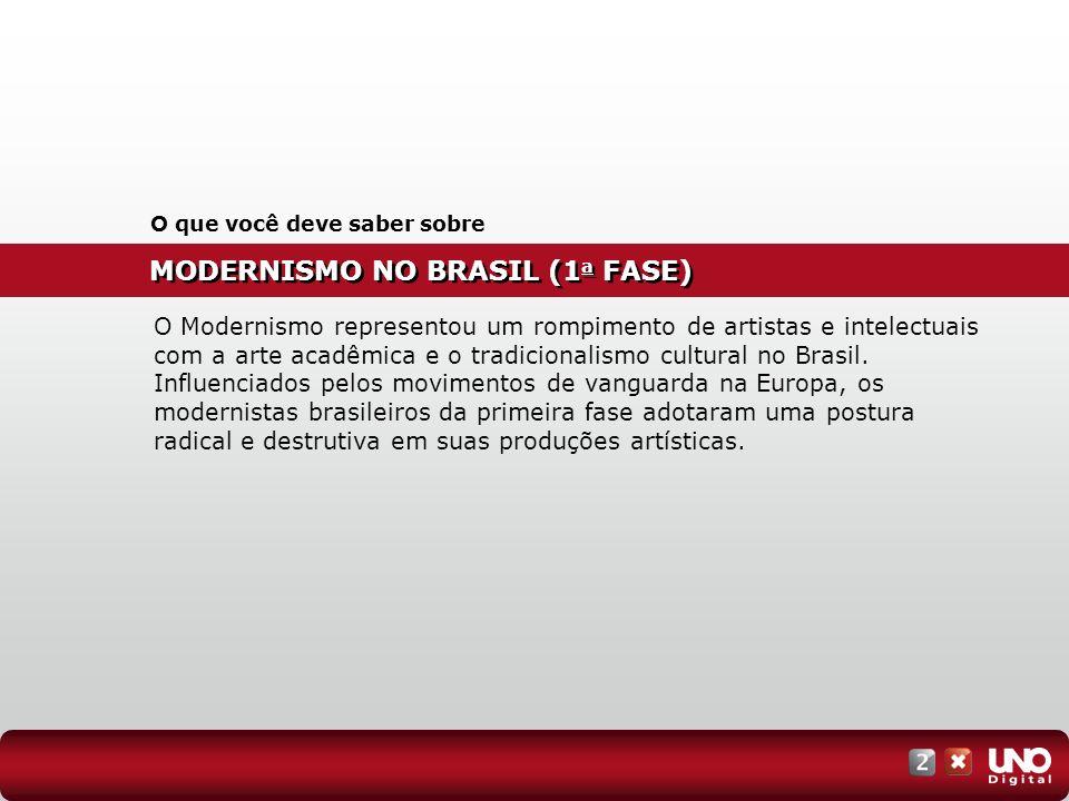 MODERNISMO NO BRASIL (1 a FASE) O que você deve saber sobre O Modernismo representou um rompimento de artistas e intelectuais com a arte acadêmica e o