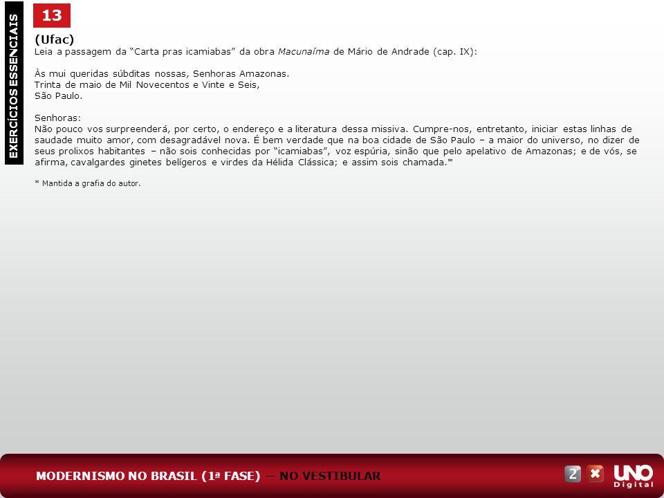13 EXERC Í CIOS ESSENCIAIS (Ufac) Leia a passagem da Carta pras icamiabas da obra Macunaíma de Mário de Andrade (cap. IX): Às mui queridas súbditas no