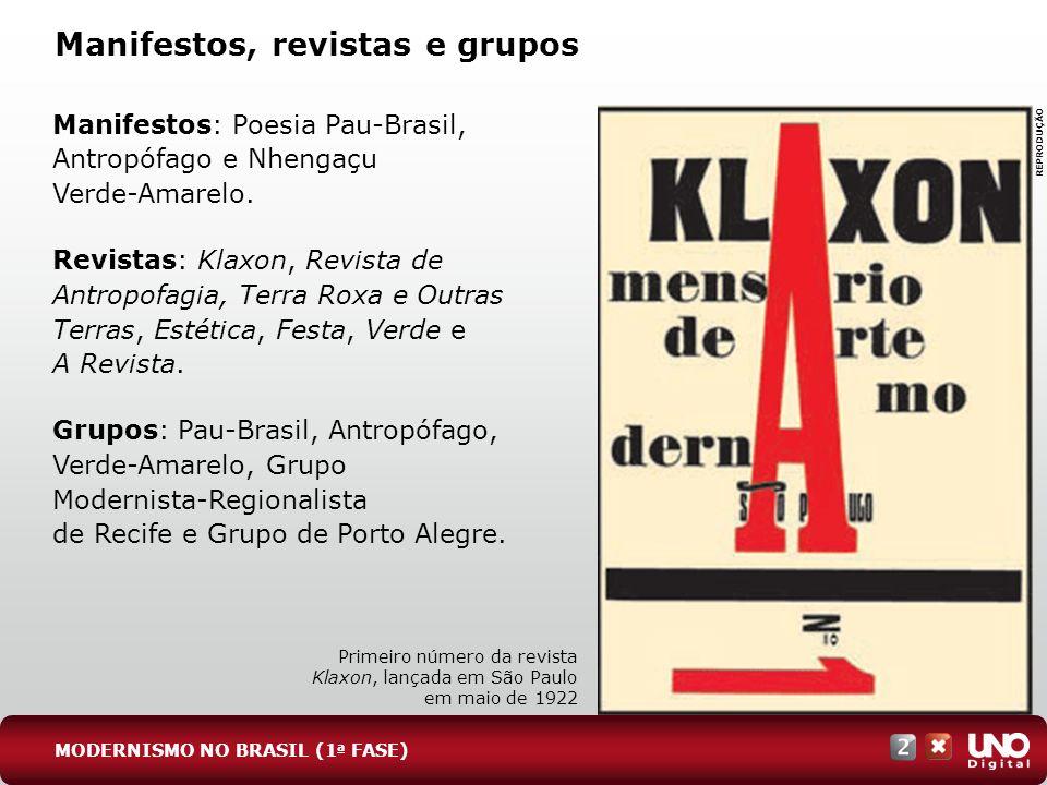 Manifestos, revistas e grupos Manifestos: Poesia Pau-Brasil, Antropófago e Nhengaçu Verde-Amarelo. Revistas: Klaxon, Revista de Antropofagia, Terra Ro