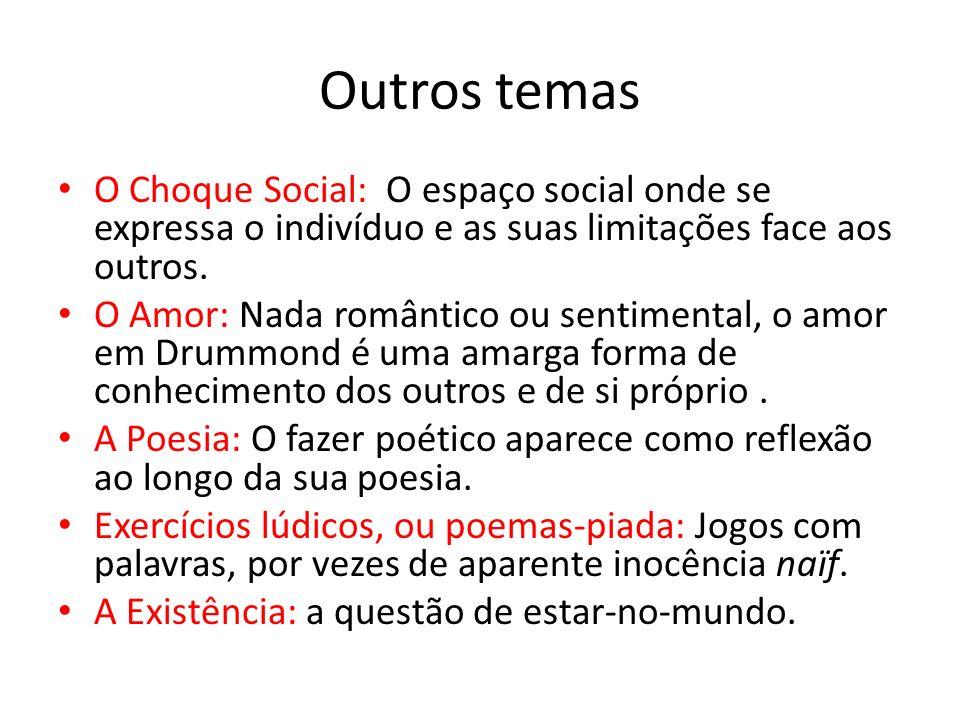 Outros temas O Choque Social: O espaço social onde se expressa o indivíduo e as suas limitações face aos outros. O Amor: Nada romântico ou sentimental
