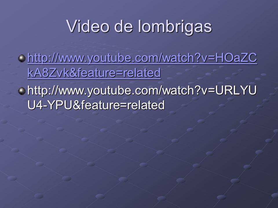 Video de lombrigas http://www.youtube.com/watch?v=HOaZC kA8Zvk&feature=related http://www.youtube.com/watch?v=HOaZC kA8Zvk&feature=related http://www.