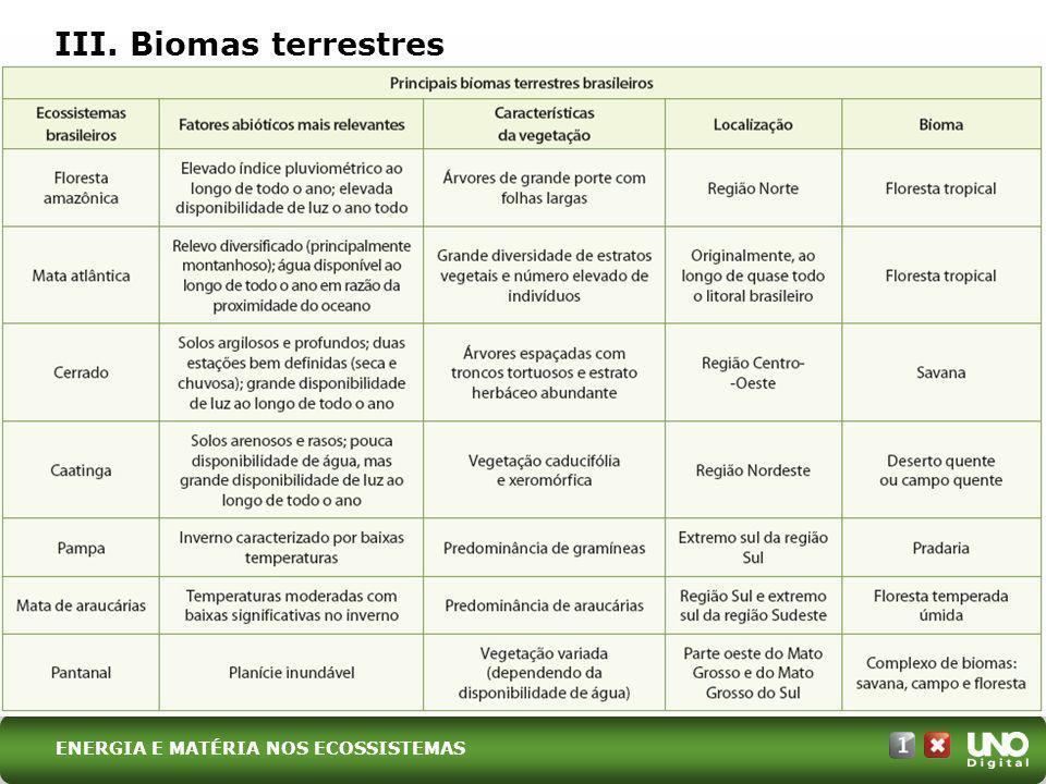 III. Biomas terrestres ENERGIA E MATÉRIA NOS ECOSSISTEMAS