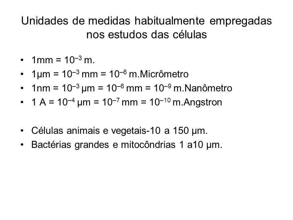 Unidades de medidas habitualmente empregadas nos estudos das células 1mm = 10 –3 m. 1µm = 10 –3 mm = 10 –6 m.Micrômetro 1nm = 10 –3 µm = 10 –6 mm = 10