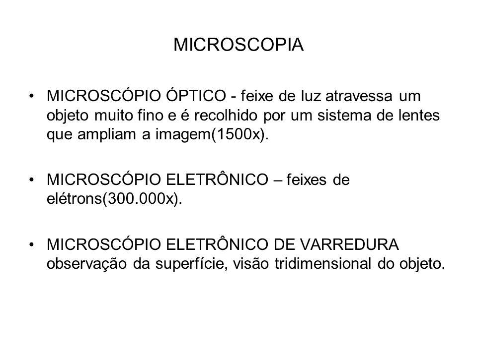 MICROSCOPIA MICROSCÓPIO ÓPTICO - feixe de luz atravessa um objeto muito fino e é recolhido por um sistema de lentes que ampliam a imagem(1500x). MICRO