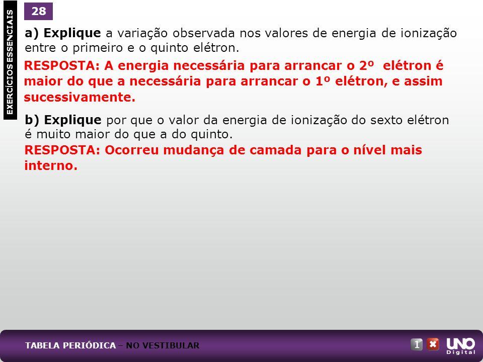 a) Explique a variação observada nos valores de energia de ionização entre o primeiro e o quinto elétron. b) Explique por que o valor da energia de io