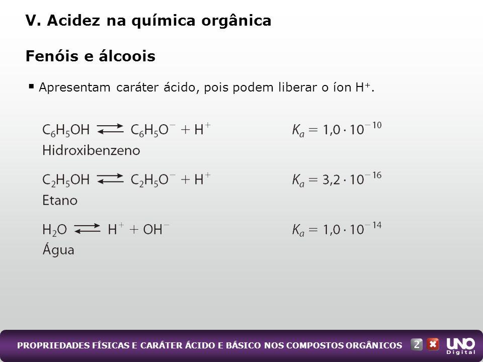 PROPRIEDADES FÍSICAS E CARÁTER ÁCIDO E BÁSICO NOS COMPOSTOS ORGÂNICOS Apresentam caráter ácido, pois podem liberar o íon H +. Fenóis e álcoois V. Acid
