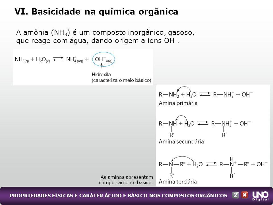 PROPRIEDADES FÍSICAS E CARÁTER ÁCIDO E BÁSICO NOS COMPOSTOS ORGÂNICOS A amônia (NH 3 ) é um composto inorgânico, gasoso, que reage com água, dando ori