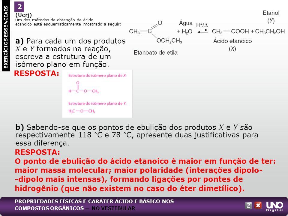 (Uerj) Um dos métodos de obtenção de ácido etanoico está esquematicamente mostrado a seguir: a) Para cada um dos produtos X e Y formados na reação, es