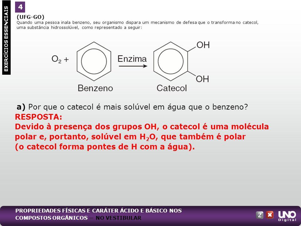 (UFG-GO) Quando uma pessoa inala benzeno, seu organismo dispara um mecanismo de defesa que o transforma no catecol, uma substância hidrossolúvel, como