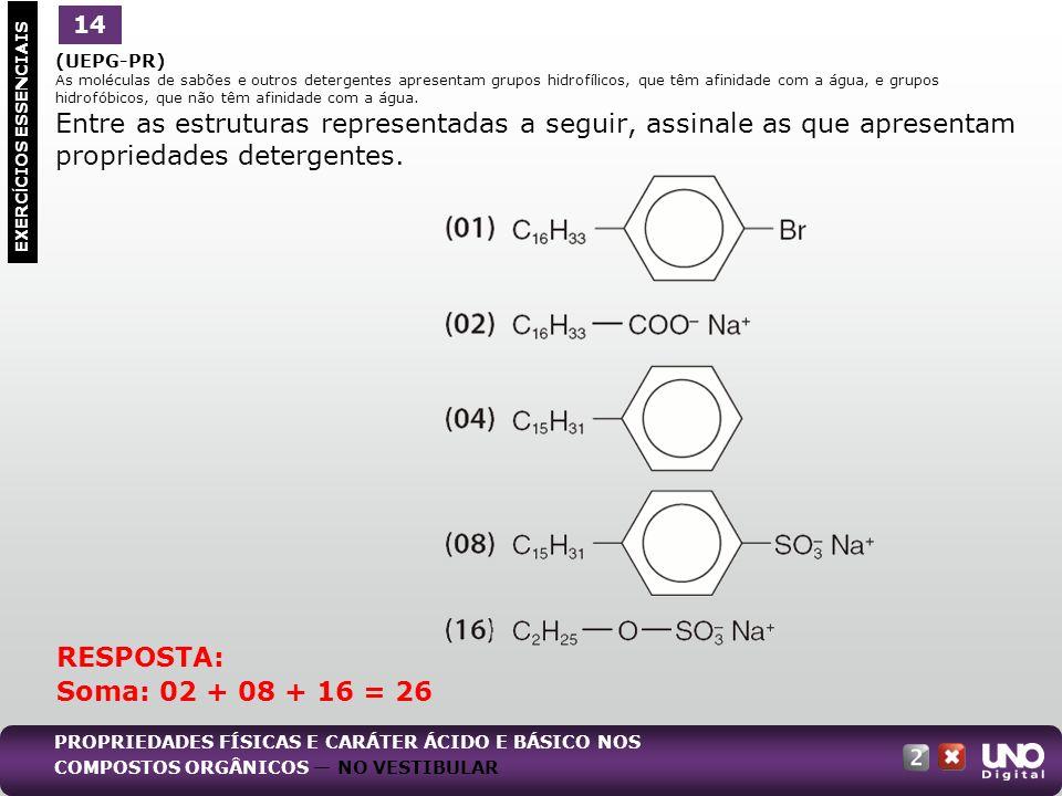 (UEPG-PR) As moléculas de sabões e outros detergentes apresentam grupos hidrofílicos, que têm afinidade com a água, e grupos hidrofóbicos, que não têm