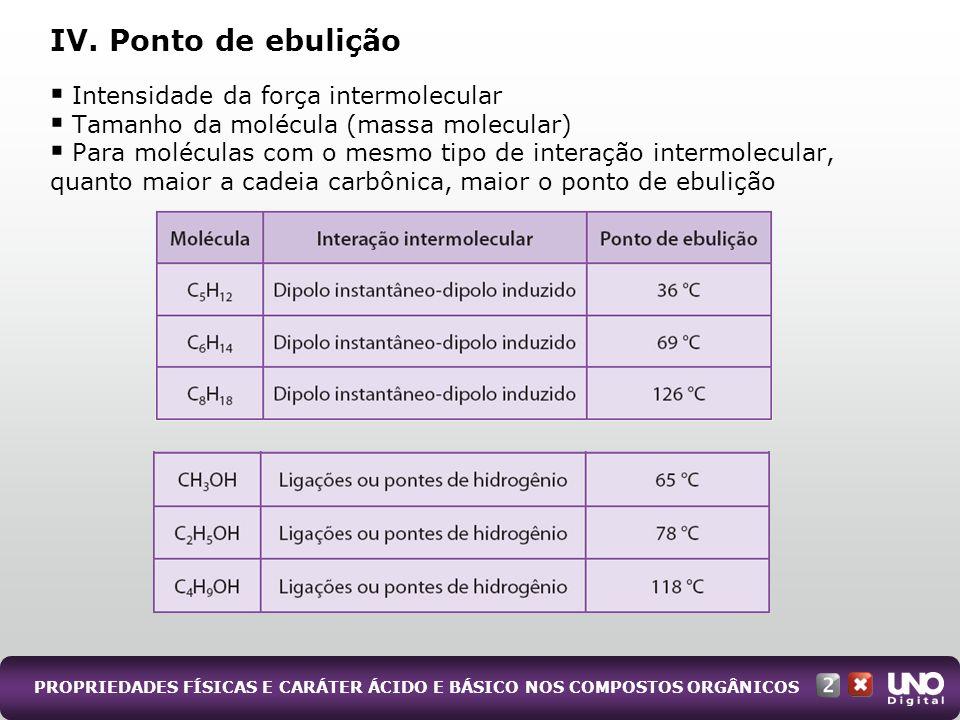 PROPRIEDADES FÍSICAS E CARÁTER ÁCIDO E BÁSICO NOS COMPOSTOS ORGÂNICOS Intensidade da força intermolecular Tamanho da molécula (massa molecular) Para m