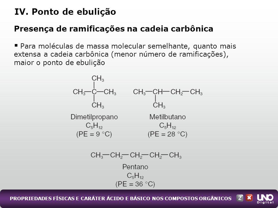 PROPRIEDADES FÍSICAS E CARÁTER ÁCIDO E BÁSICO NOS COMPOSTOS ORGÂNICOS Presença de ramificações na cadeia carbônica Para moléculas de massa molecular s