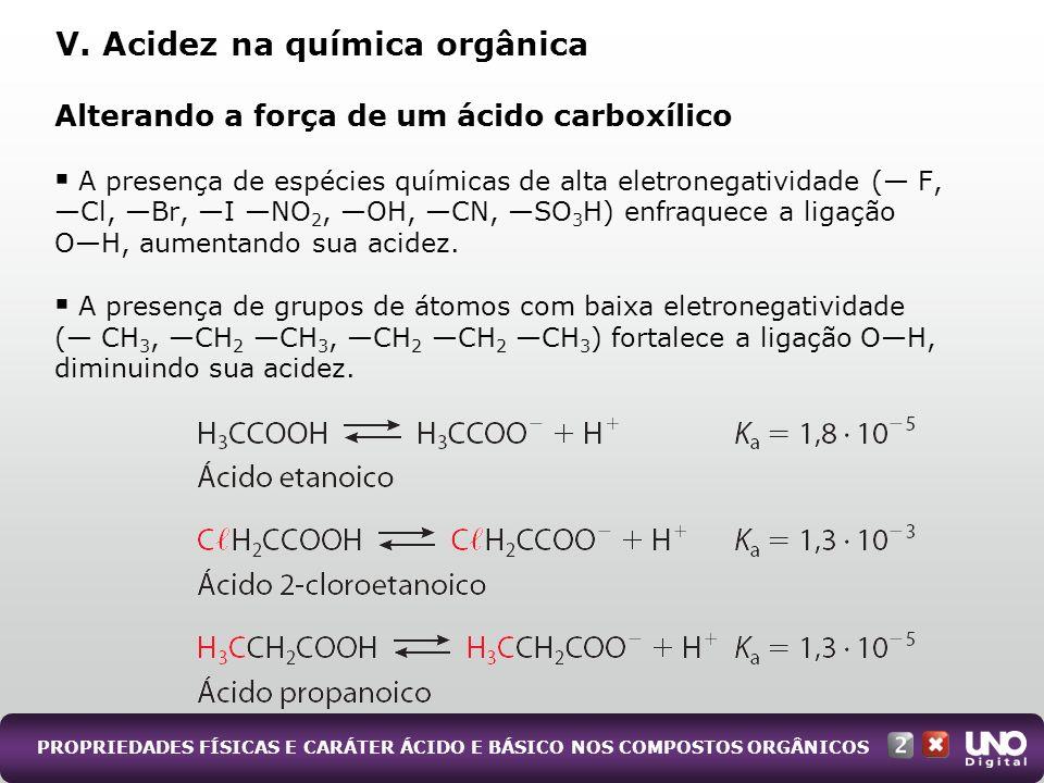 PROPRIEDADES FÍSICAS E CARÁTER ÁCIDO E BÁSICO NOS COMPOSTOS ORGÂNICOS Alterando a força de um ácido carboxílico A presença de espécies químicas de alt