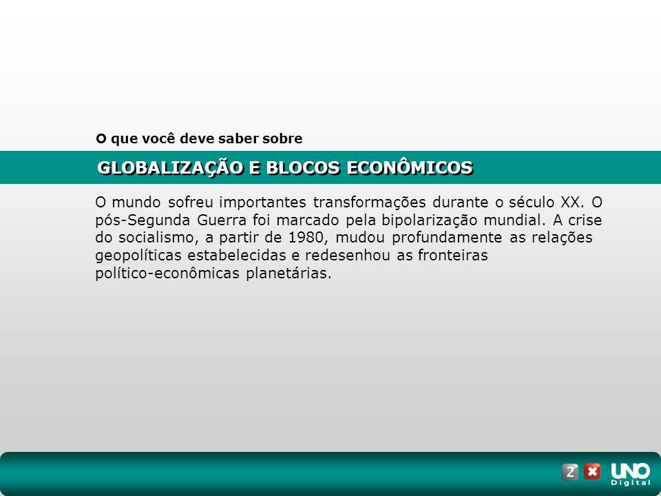GLOBALIZAÇÃO E BLOCOS ECONÔMICOS O que você deve saber sobre O mundo sofreu importantes transformações durante o século XX.