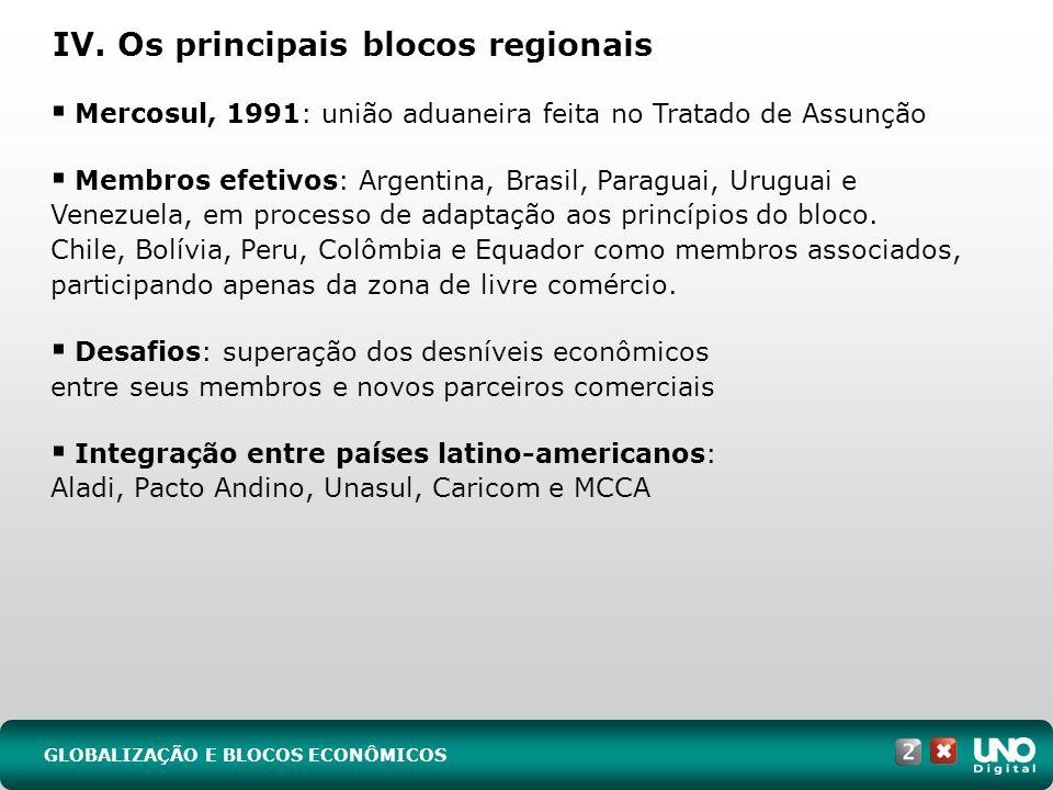 IV. Os principais blocos regionais GLOBALIZAÇÃO E BLOCOS ECONÔMICOS Mercosul, 1991: união aduaneira feita no Tratado de Assunção Membros efetivos: Arg