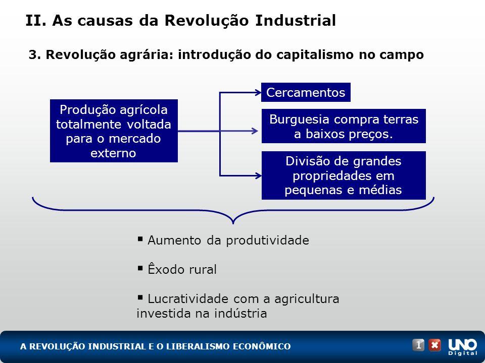 II. As causas da Revolução Industrial 3. Revolução agrária: introdução do capitalismo no campo Aumento da produtividade Êxodo rural Lucratividade com